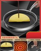 德國不銹鋼平底鍋不粘鍋家用無涂層牛排深煎鍋煎蛋烙餅燃氣灶適用 童趣屋