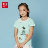 JJLKIDS 女童 夢幻蕾絲圓領逛街女孩短袖上衣 T恤(薄荷綠)