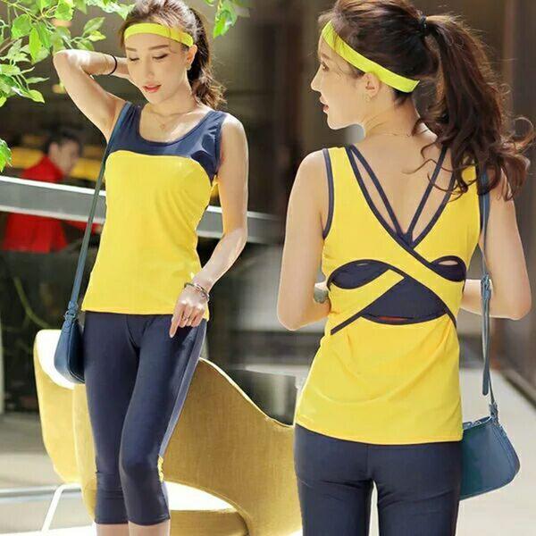 韓國春夏新款瑜伽服套裝套女短袖背心休閒運動跑步健身喻咖服   -cmx0037