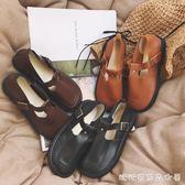 日繫復古森女圓頭娃娃鞋單鞋學院風女鞋英倫風小皮鞋平底丁字鞋女 糖糖日系森女屋