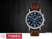 【時間道 】TIMEX天美時 經典復刻三眼計時腕錶– 藍面棕皮(TW2R42600/TXTW2R42600)免運費