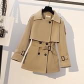 大碼女裝秋冬新款胖妹妹英倫風風衣遮肚子顯瘦小個子短款外套