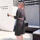 2019新款加大碼女裝春裝胖mm裙子直筒洋氣胖妹妹條紋連身裙