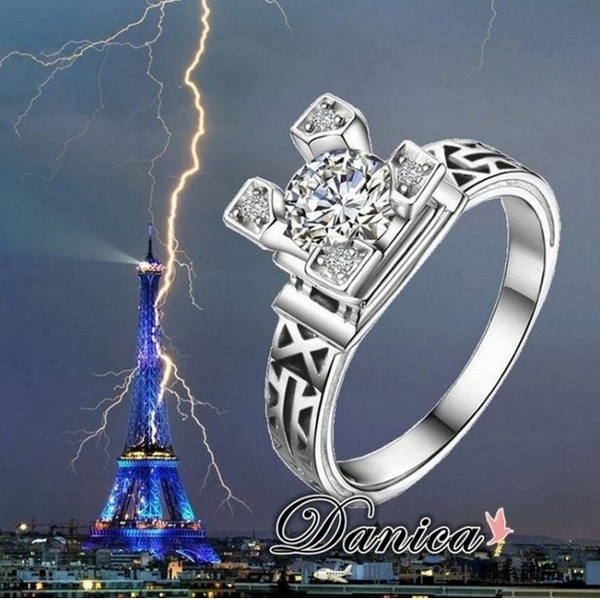 戒指 現貨 專櫃CZ鑽氣質閃亮 微鑲立體艾菲爾鐵塔 開口水晶 微調戒指 S5144 批發價