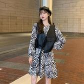 秋季2020新款復古撞色斑馬條紋泡泡袖洋裝女裝收腰顯瘦過膝長裙 【端午節特惠】