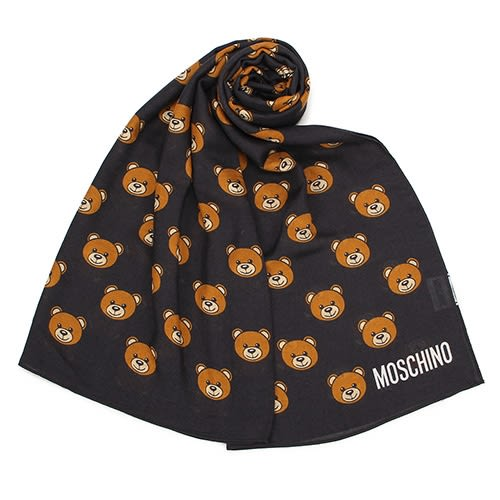 MOSCHINO 經典滿版TOY小熊莫代爾材質薄圍巾(黑色)911007-001