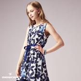 【SHOWCASE】雙色葉子印花綁帶雙層裙襬無袖洋裝(藍)