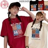 EASON SHOP(GQ0859)韓版繽紛四格可愛卡通動物印花落肩寬鬆圓領短袖五分袖素色棉T恤女上衣服大碼外搭