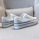 春季薄款透氣網面小白鞋女鞋2021新款網紗網鞋蕾絲鏤空厚底帆布鞋 快速出貨