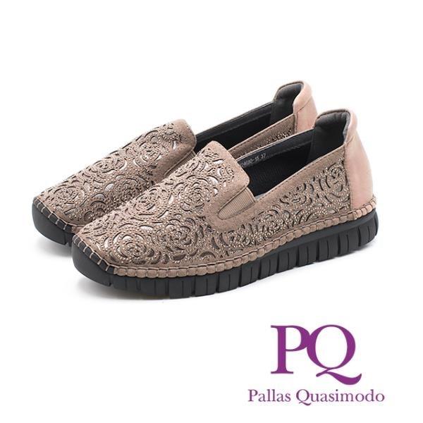 【南紡購物中心】PQ 法式優雅玫瑰花鑲鑽直套式 女鞋 - 杏 (另有黑)