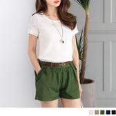 OB嚴選《BA2542-》蕾絲拼接口袋附皮帶打褶微澎短褲.5色--適 S~XL