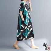 大尺碼洋裝實拍文藝大尺碼棉麻寬鬆顯瘦短袖連身裙