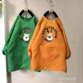 兒童畫畫防水罩衣長款中大童幼兒園繪畫衣長袖圍裙可印字定制logo『小宅妮時尚』