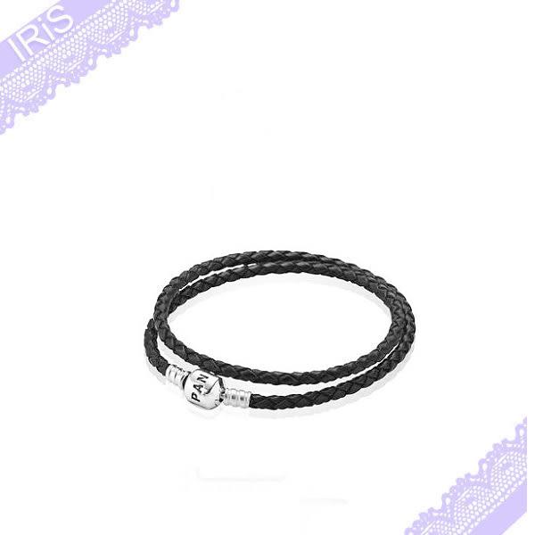 Pandora 潘朵拉  ( 黑色皮革) 黑色二圈皮繩,41cm 項鍊/手鍊皮繩  [ IRiS 愛戀詩 ]