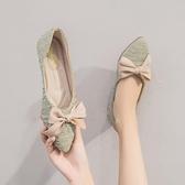 淺口單鞋舒適平底鞋韓版小香風豆豆鞋女溫柔鞋網美上班鞋【慢客生活】