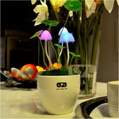 光控阿凡達蘑菇燈陶瓷花盆小夜燈桌面小台燈創意家居燈飾生日禮物HD【新店開業,限時85折】