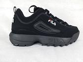 FILA DISRUPTOR II女款全黑皮革老爹鞋-NO.4C113U000