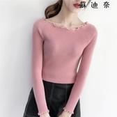 針織衫 針織上衣 新款修身套頭毛衣秋冬打底衫女