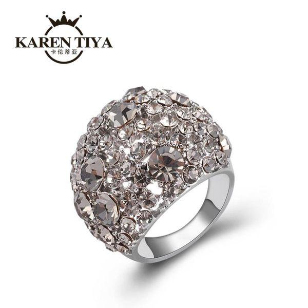 618年㊥大促 戒指女日韓潮人學生飾品時尚大氣水鉆彩鉆鏤空韓版潮夸張食指指環
