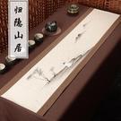 手繪復古桌旗中式禪意棉麻布藝中國風茶席長桌布 熊熊物語