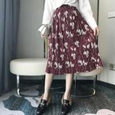娃娃家 2019春裝新款 韓版時尚花朵百褶雪紡半身裙女長裙子Q8801