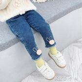 女童牛仔褲冬裝兒童腳口毛球棉褲哈倫長褲加絨褲女孩 卡卡西