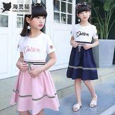女童洋裝夏裝2018夏季新款兒童裝裙子韓版中大童女孩字母公主裙     俏女孩