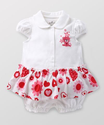 【特惠6折】Hallmark Babies 女嬰長絨棉甜心小熊假兩件短袖連身衣 HD1-B02-12-BG-PR
