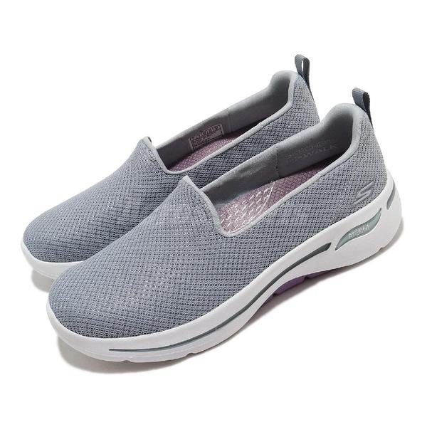 Skechers 休閒鞋 Go Walk Arch Fit-Grateful 灰 白 女鞋 健走鞋 運動鞋 【ACS】 124401GYLV