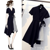 大碼女裝新款夏裝胖妹妹mm裙子洋氣顯瘦遮肚假兩件法式洋裝 「安妮塔小鋪」