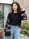 日擊原宿風秋裝新款chic寬鬆顯瘦袖子印花長袖T恤女上衣 韓國時尚週