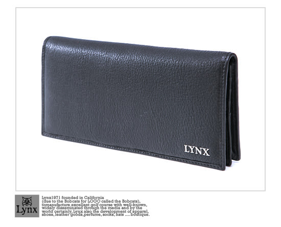Lynx - 美國山貓紳士真皮款15卡1照長夾-沉著黑