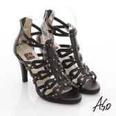 A.S.O 修身美型 真皮手工編織鉚丁羅馬涼鞋 黑色