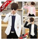 西裝外套男 夏天韓版7分修身小西裝男士青少年七分袖西服粉色中袖潮男小外套 小宅女