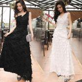 韓版時尚優雅聚會女神中長款沙灘流蘇吊帶晚禮服女洋裝  朵拉朵衣櫥