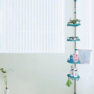 【LIFECODE】頂天立地浴室置物架-蒂芬妮藍【贈送-廚房防污貼紙】