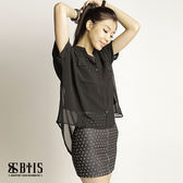 【BTIS】雪紡透膚短袖罩衫  / 黑色