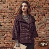 【岱妮蠶絲】HK3328C七分袖極輕短版夾蠶絲外套(深紫)