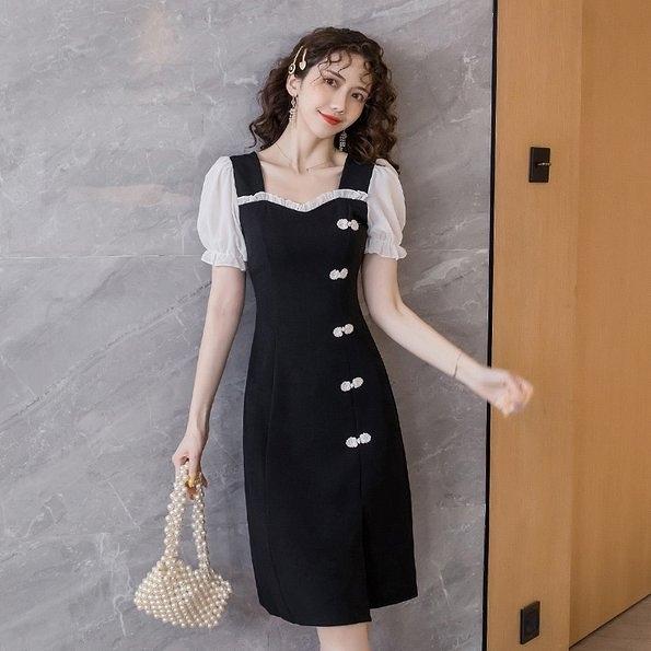 洋裝禮服連身裙S-2XL方領泡泡袖旗袍改良版修身顯瘦年輕款復古連衣裙N140K.1328胖胖唯依