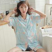 哺乳睡衣 短袖薄款月子服純棉孕婦睡衣產後哺乳衣外出喂奶居家服套裝「Chic七色堇」