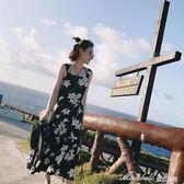 女裝 裝韓版小清新吊帶長裙碎花雪紡洋裝度假沙灘裙子       蜜拉貝爾
