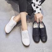 單鞋  單鞋女平底秋季新款簡約小白鞋真皮英倫風小皮鞋平跟休閒女鞋 新品