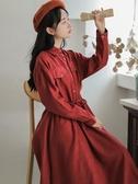 長袖連身裙2020新款秋冬燈芯絨連身裙長袖仙女超仙甜美學生森系小清新復古裙 新品
