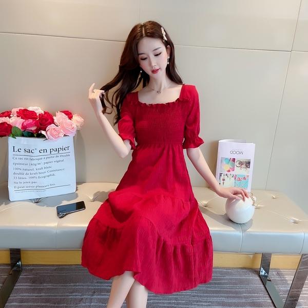 出清388 韓國風桔梗方領雪紡裹胸顯瘦短袖洋裝