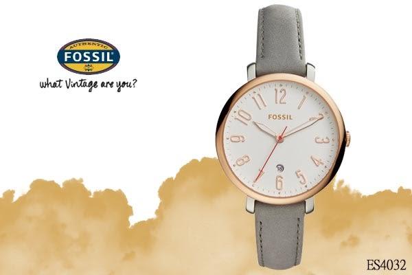 【時間道】 [FOSSIL。錶] 俏皮可愛時尚女錶–白面玫瑰金殼灰皮 (ES4032)免運費