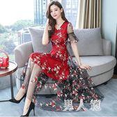大碼禮服名媛氣質連衣裙女夏裝新款高端刺繡修身超仙中長裙  df441『男人範』
