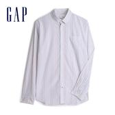 Gap 男裝 棉質角扣翻領長袖襯衫 548308-彩色條紋
