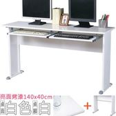 Homelike 格雷140x40工作桌 亮面烤漆(附二鍵) 白桌面/白腳