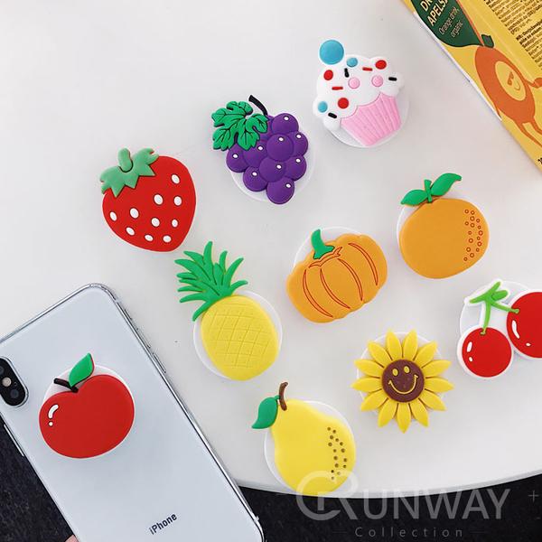 水果 可愛氣囊支架 矽膠材質 抖音支架 手機貼式支架 可繞耳機線 收納 可伸縮 多用途 支撐架