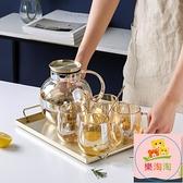 冷水壺 北歐冷水壺玻璃耐高溫涼水壺套裝家用大容量涼茶壺水杯網紅【樂淘淘】